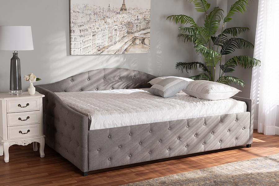 Becker Grey Fabric Queen Daybed | Baxton Studio