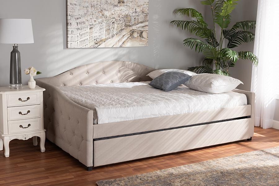 Becker Beige Fabric Queen Daybed with Trundle | Baxton Studio