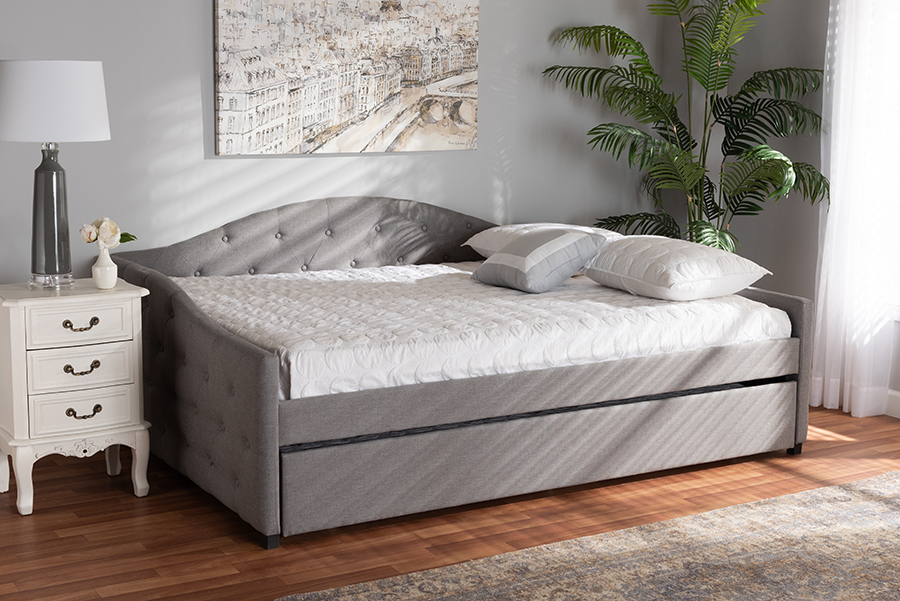Becker Grey Fabric Queen Daybed with Trundle | Baxton Studio