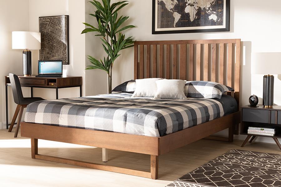 Marin Walnut Wood King Platform Bed | Baxton Studio