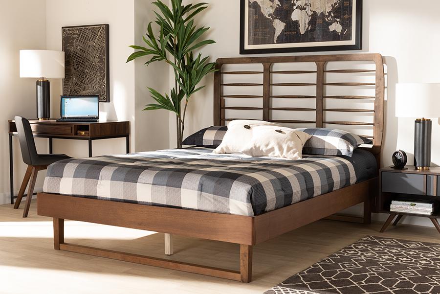 Lucie Walnut Wood Queen Platform Bed | Baxton Studio