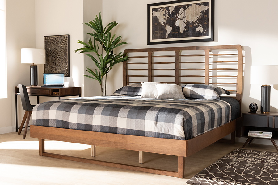 Lucie Walnut Wood King Platform Bed | Baxton Studio
