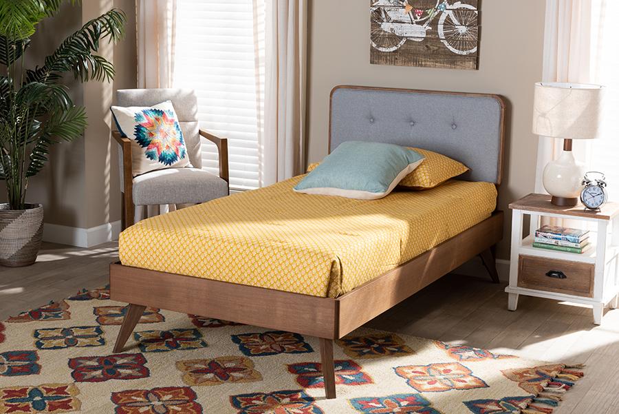 Dilara Light Grey Fabric Walnut Wood Twin Platform Bed | Baxton Studio