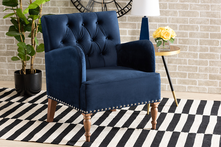 Eri Navy Blue Velvet Walnut Wood Armchair | Baxton Studio