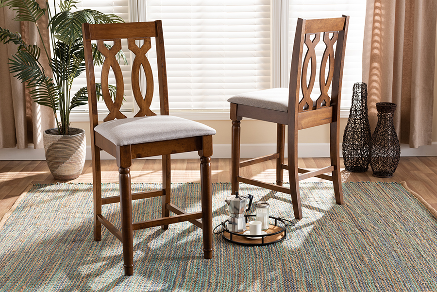 Darcie Grey Fabric Walnut Wood 2-pc Counter Stool Set | Baxton Studio