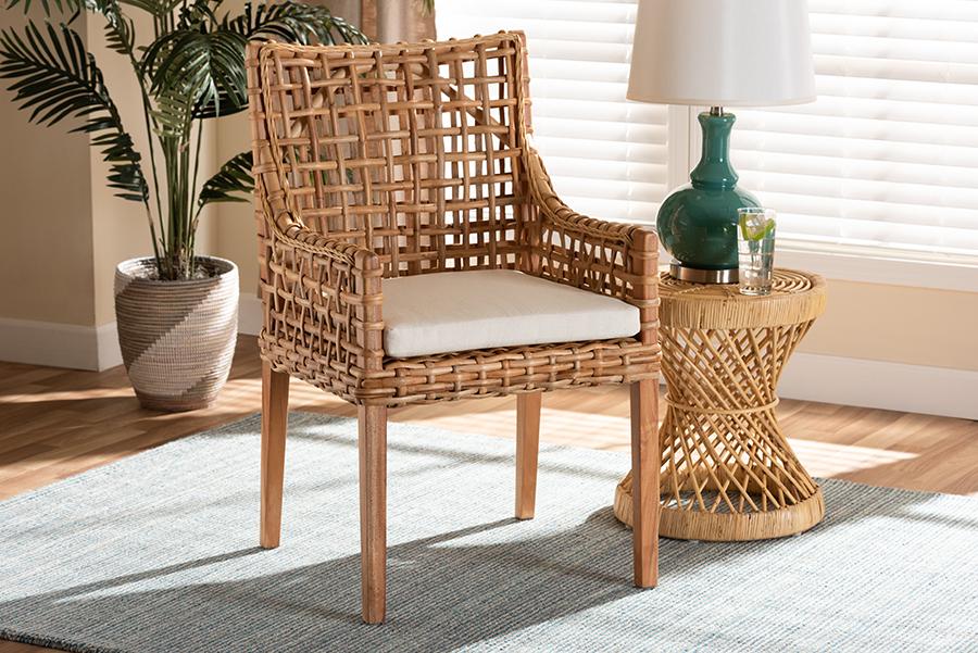 Saoka Natural Brown Wood Rattan Dining Chair | Baxton Studio