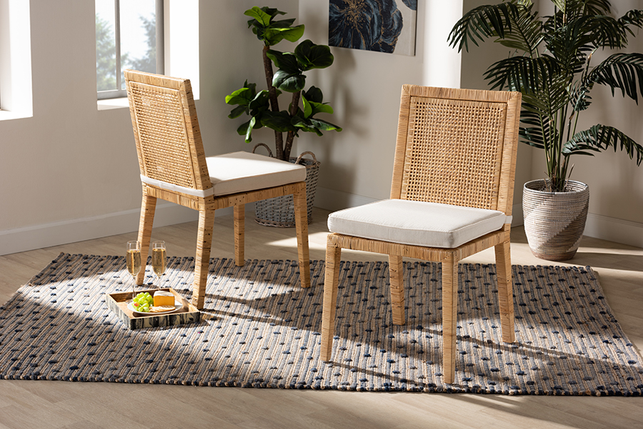 Sofia Natural Wood Rattan 2-pc Dining Chair Set | Baxton Studio