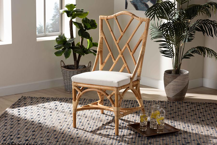 Sonia Natural Rattan Dining Chair | Baxton Studio