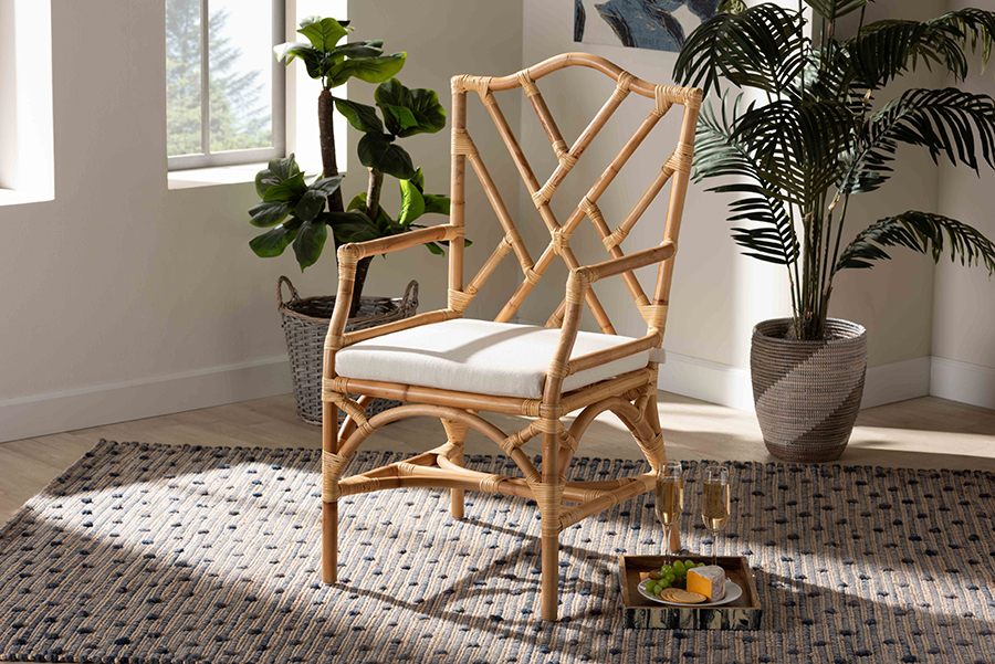 Delta Natural Rattan Dining Chair | Baxton Studio