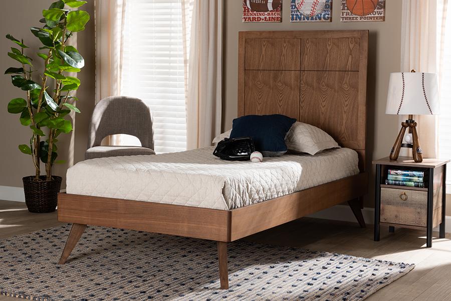 Noela Walnut Wood Twin Platform Bed | Baxton Studio