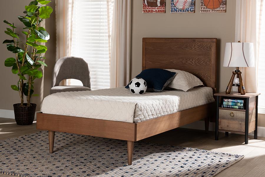 Hiro Walnut Wood Twin Platform Bed | Baxton Studio