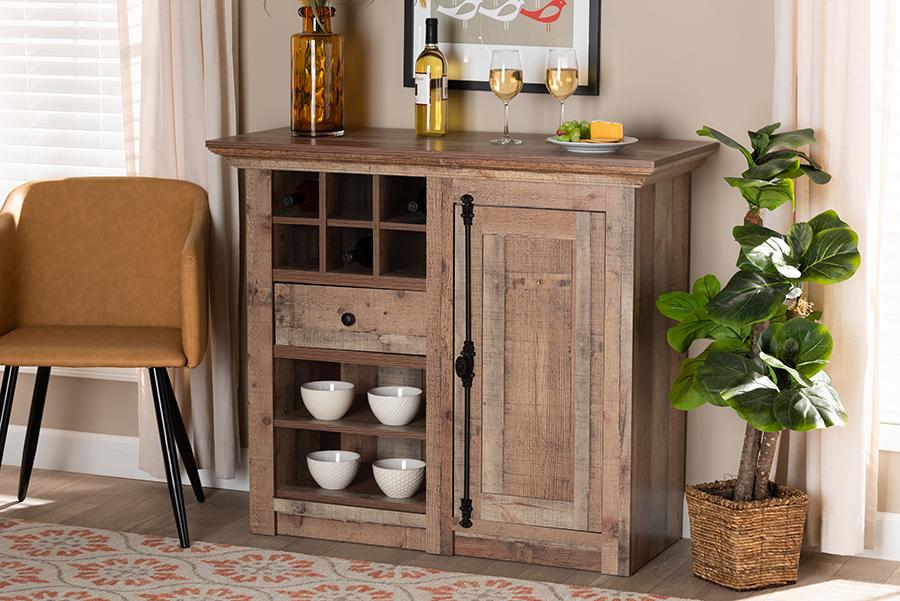 Albert Oak Brown Wood 1 Door Dining Room Sideboard Buffet | Baxton Studio