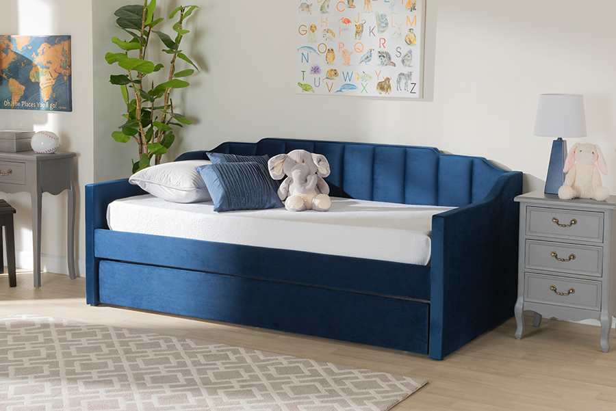 Lennon Navy Blue Velvet Fabric Twin Daybed with Trundle | Baxton Studio