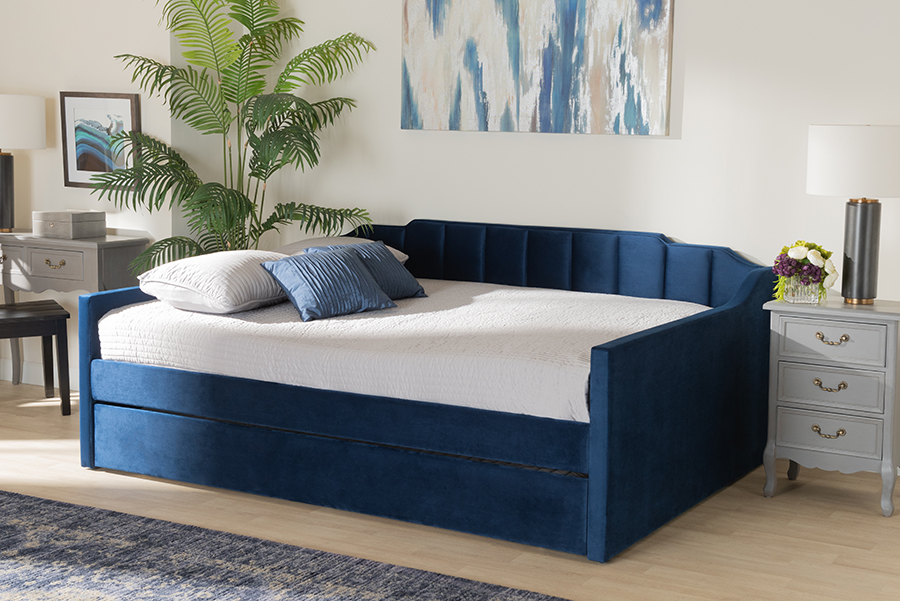 Lennon Navy Blue Velvet Fabric Queen Daybed with Trundle | Baxton Studio