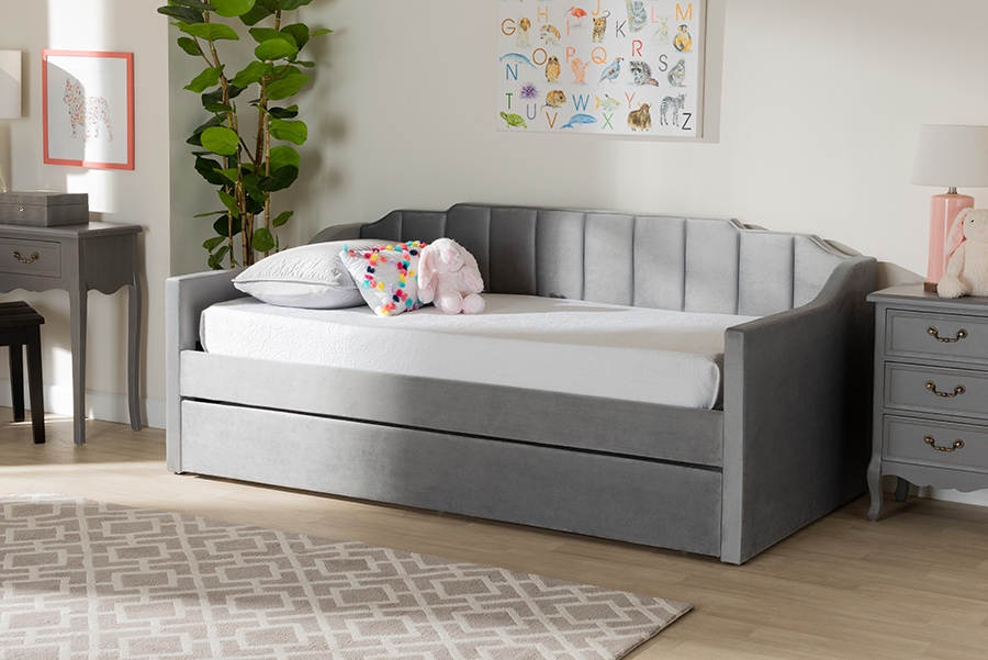 Lennon Grey Velvet Fabric Twin Daybed with Trundle | Baxton Studio