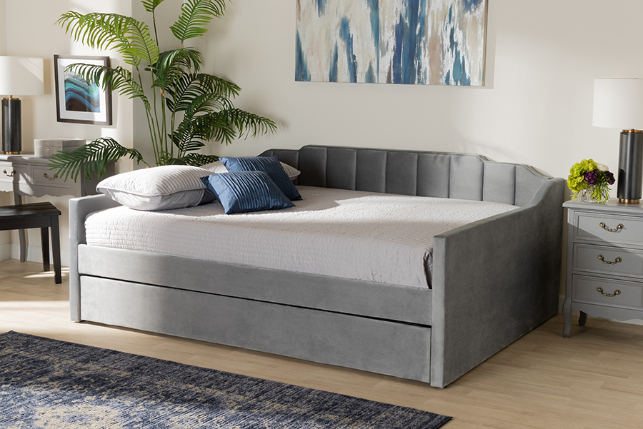 Lennon Grey Velvet Fabric Queen Daybed with Trundle | Baxton Studio