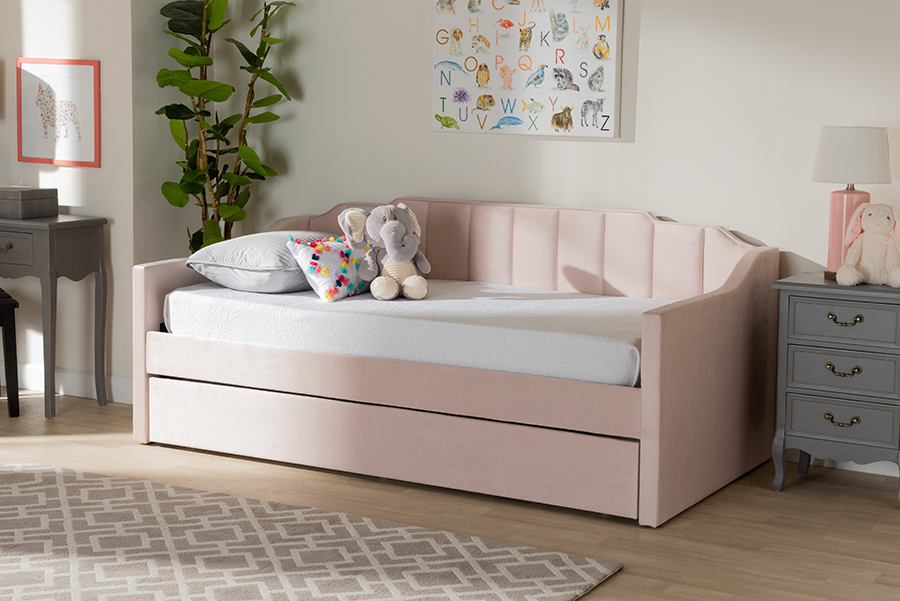 Lennon Pink Velvet Fabric Twin Daybed with Trundle   Baxton Studio