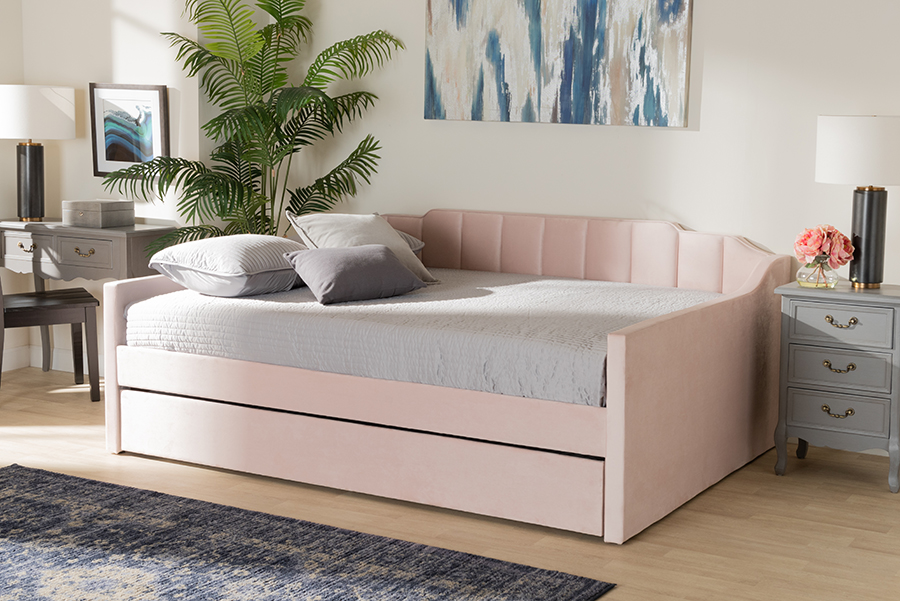 Lennon Pink Velvet Fabric Queen Daybed with Trundle | Baxton Studio