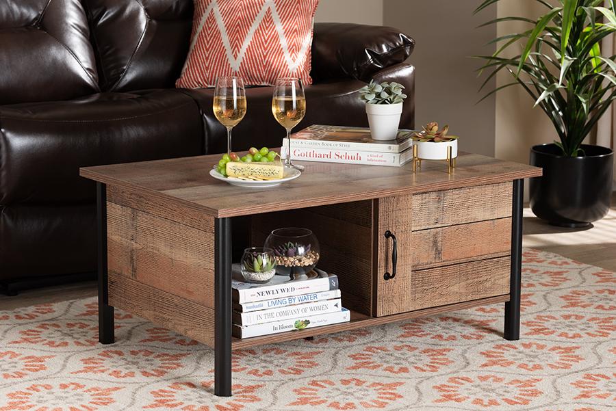 Vaughan Oak Brown Black Wood Coffee Table | Baxton Studio