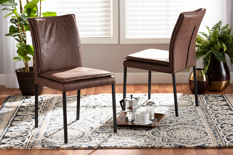 Gerard Brown Fabric Black Metal 2-pc Dining Chair Set | Baxton Studio