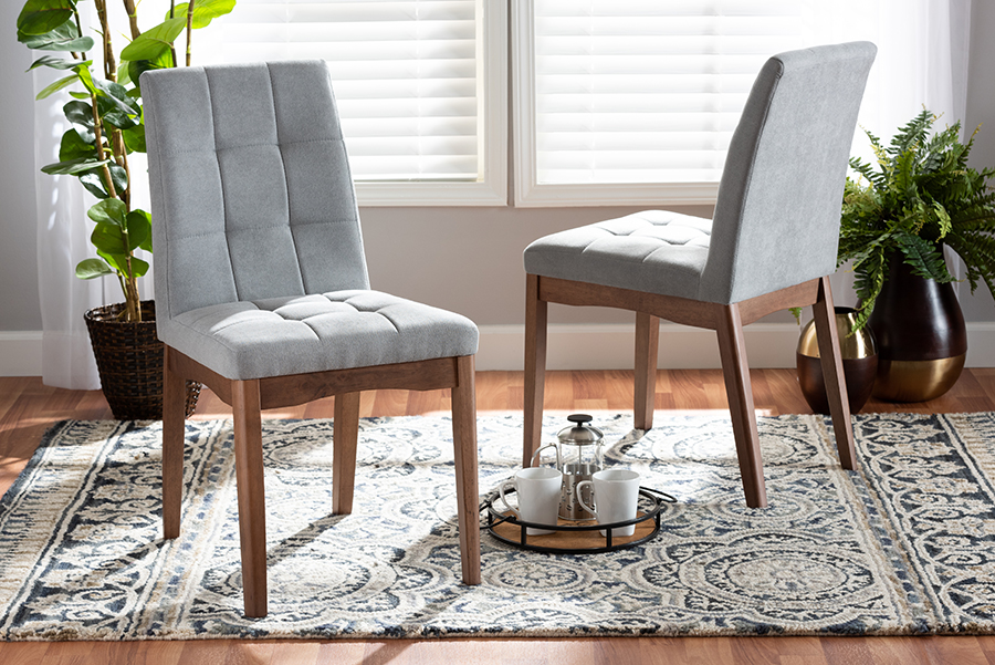 Tara Light Grey Fabric Walnut Wood 2-pc Dining Chair Set | Baxton Studio