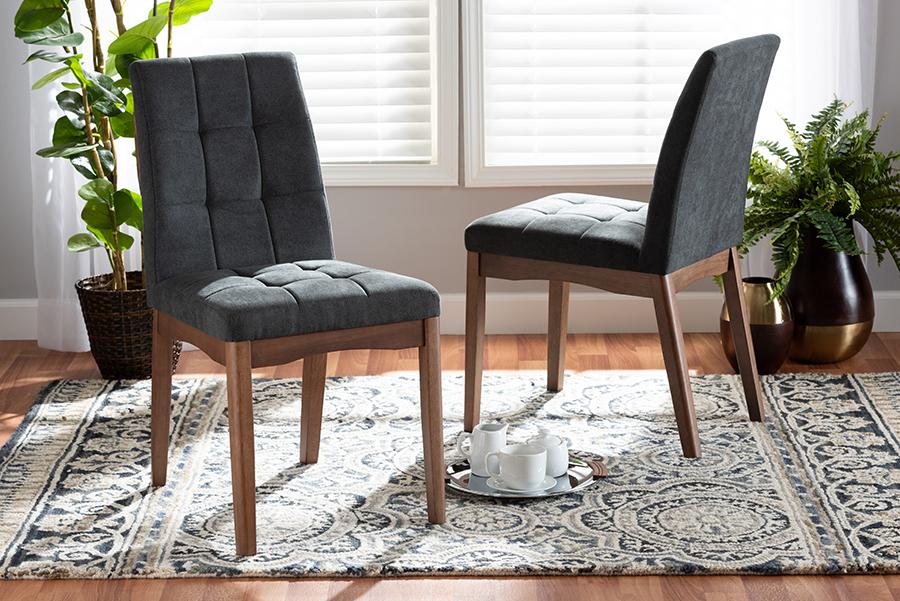 Tara Dark Grey Fabric Walnut Wood 2-pc Dining Chair Set | Baxton Studio
