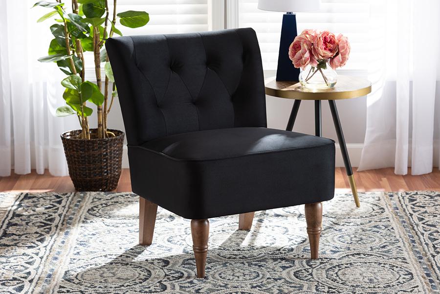 Harmon Black Velvet Fabric Walnut Wood Accent Chair | Baxton Studio