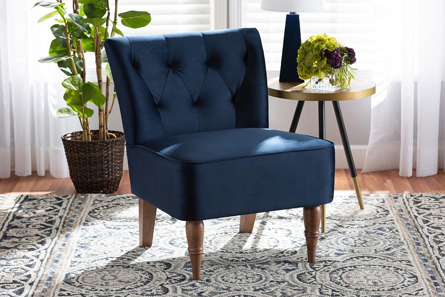 Harmon Navy Blue Velvet Fabric Walnut Wood Accent Chair | Baxton Studio