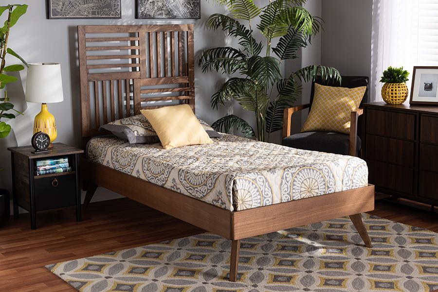 Gemma Walnut Wood Twin Platform Bed | Baxton Studio