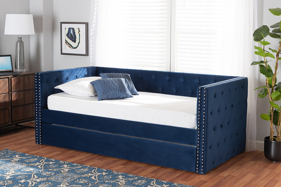 Larkin Navy Blue Velvet Fabric Twin Daybed with Trundle | Baxton Studio