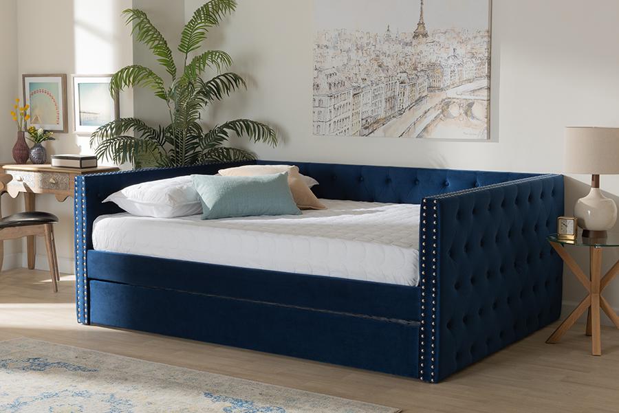 Larkin Navy Blue Velvet Fabric Queen Daybed with Trundle | Baxton Studio