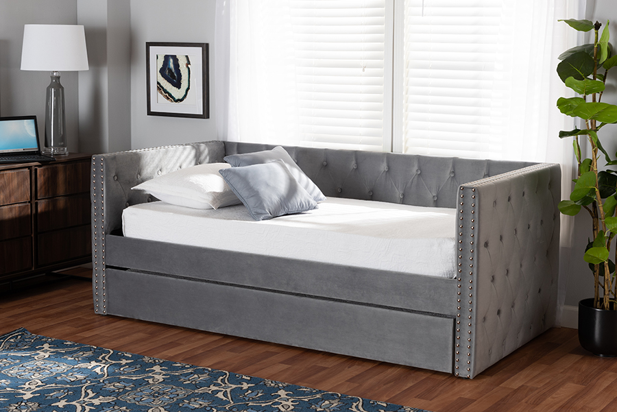 Larkin Grey Velvet Fabric Twin Daybed with Trundle | Baxton Studio