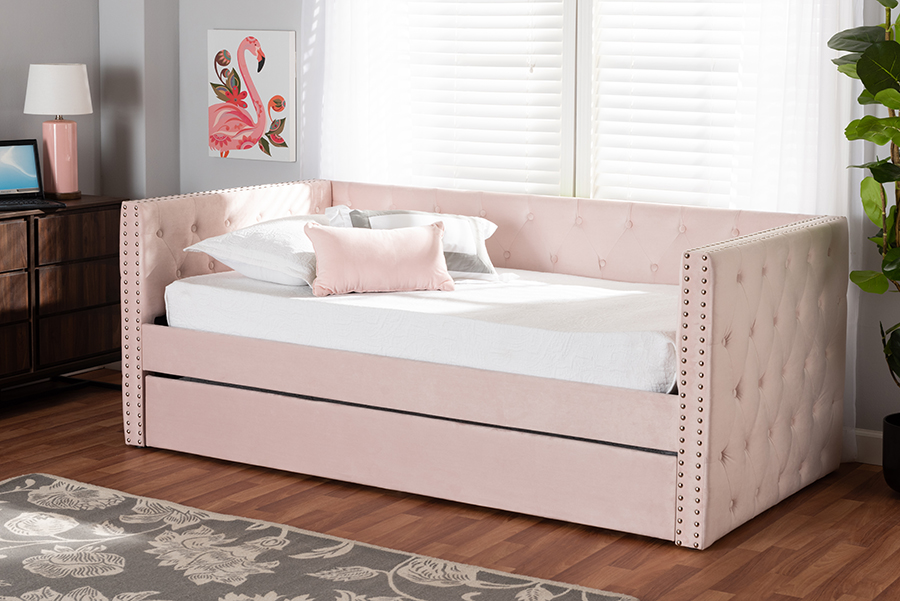 Larkin Pink Velvet Fabric Twin Daybed with Trundle | Baxton Studio