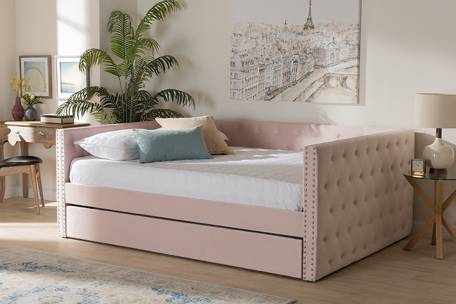 Larkin Pink Velvet Fabric Queen Daybed with Trundle | Baxton Studio