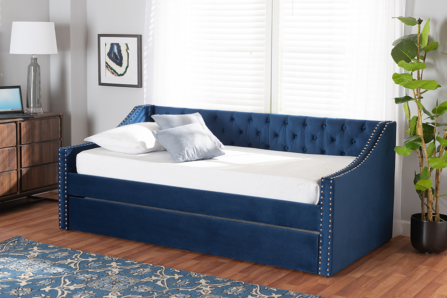 Raphael Navy Blue Velvet Fabric Twin Daybed with Trundle | Baxton Studio
