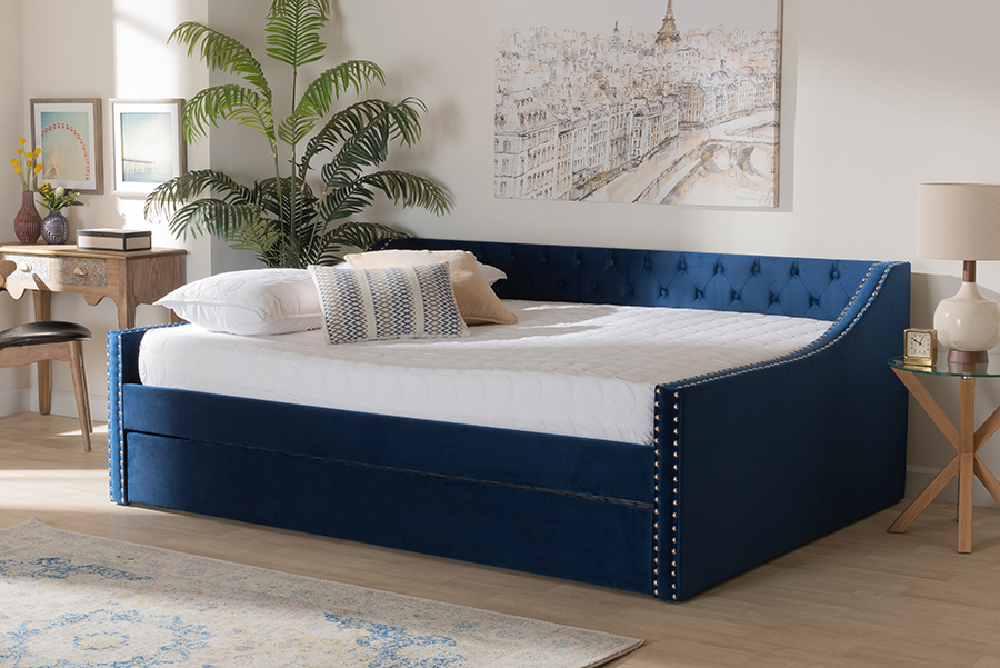 Raphael Navy Blue Velvet Fabric Queen Daybed with Trundle | Baxton Studio