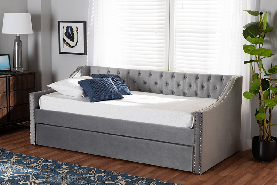 Raphael Grey Velvet Fabric Twin Daybed with Trundle | Baxton Studio