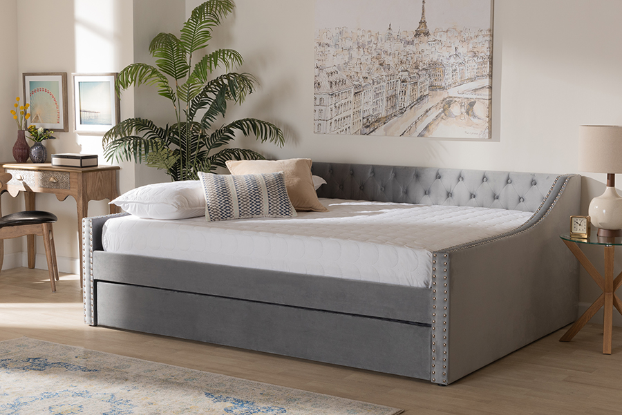 Raphael Grey Velvet Fabric Queen Daybed with Trundle | Baxton Studio