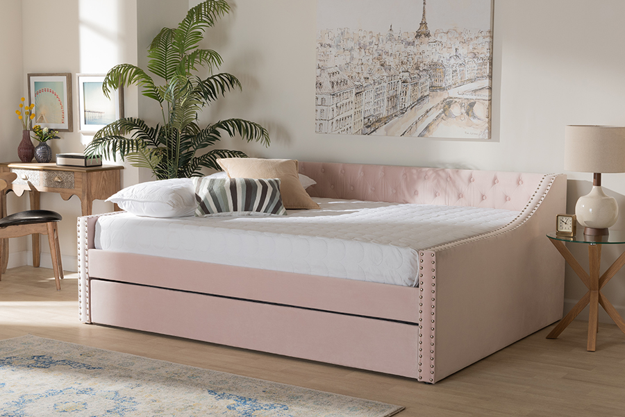 Raphael Pink Velvet Fabric Queen Daybed with Trundle | Baxton Studio