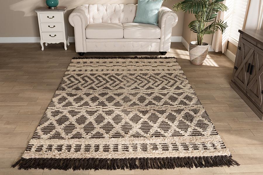 Heino Ivory Charcoal Handwoven Wool Area Rug | Baxton Studio