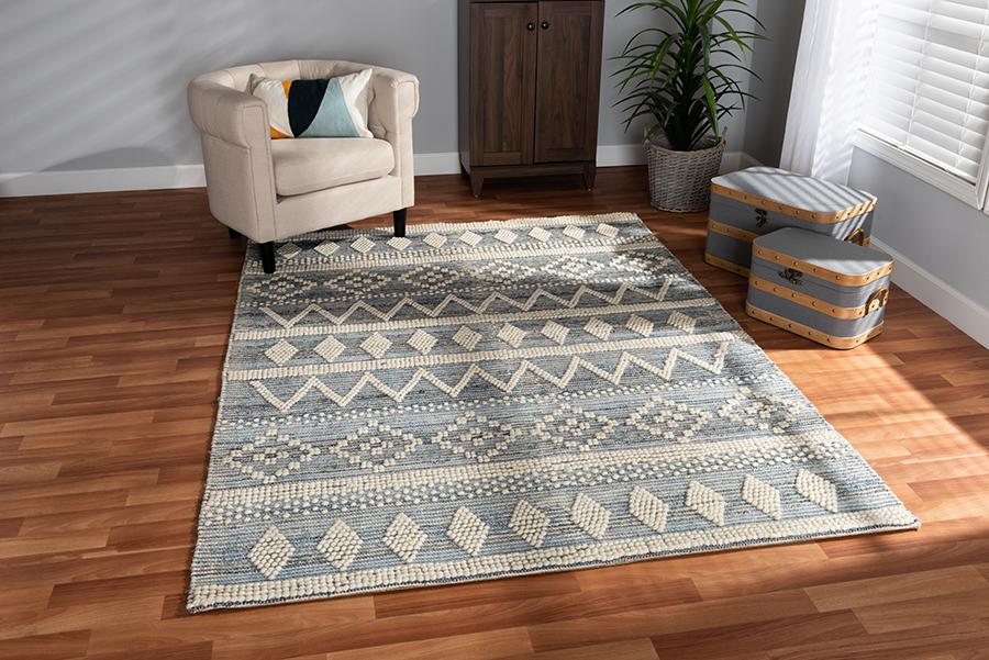 Callum Ivory Blue Handwoven Wool Blend Area Rug | Baxton Studio