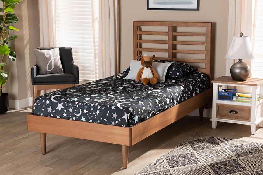 Delia Walnut Wood Twin Platform Bed | Baxton Studio