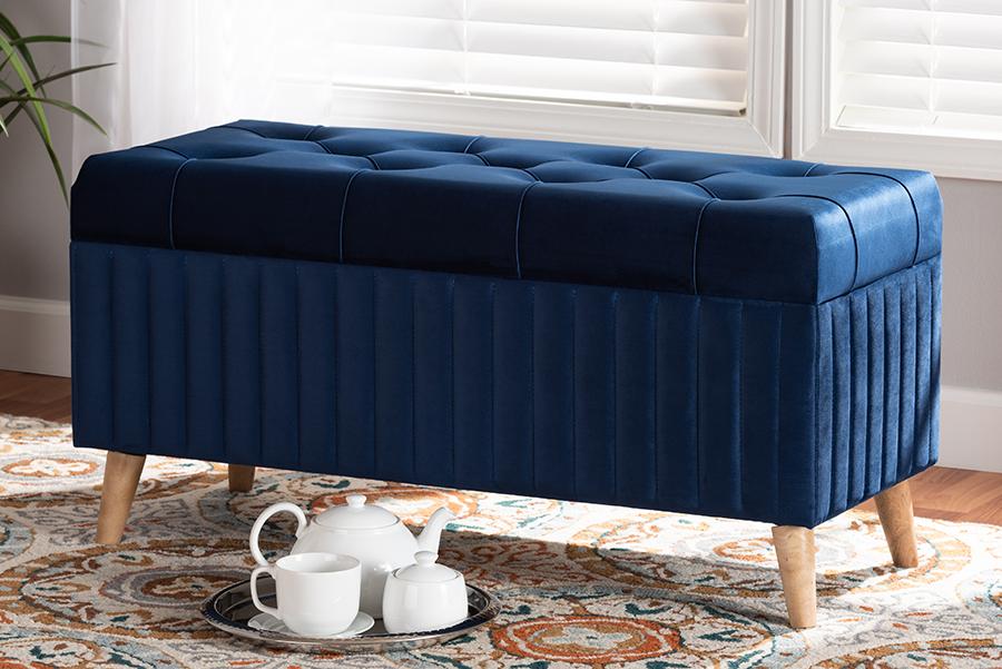 Hanley Navy Blue Velvet Fabric Walnut Wood Storage Ottoman | Baxton Studio