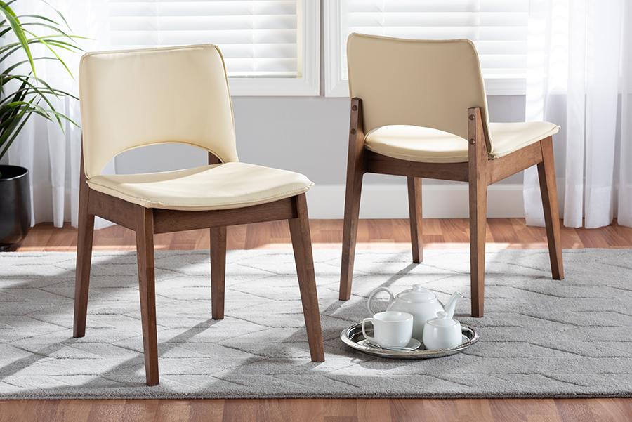 Afton Beige Faux Leather Walnut Wood 2-pc Dining Chair Set | Baxton Studio
