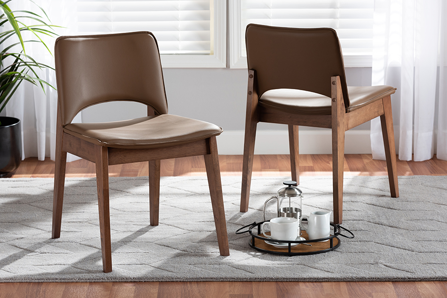 Afton Brown Faux Leather Walnut Wood 2-pc Dining Chair Set | Baxton Studio