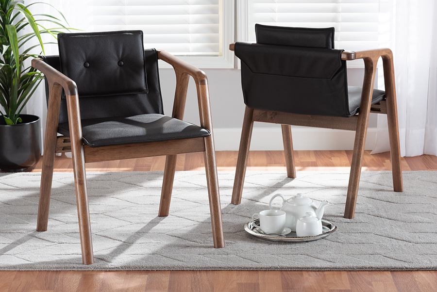 Marcena Black Faux Leather Walnut Wood 2-pc Dining Chair Set | Baxton Studio