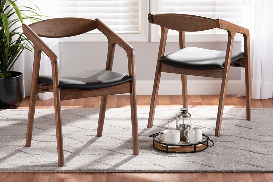 Harland Black Faux Leather Walnut Wood 2-pc Dining Chair Set | Baxton Studio