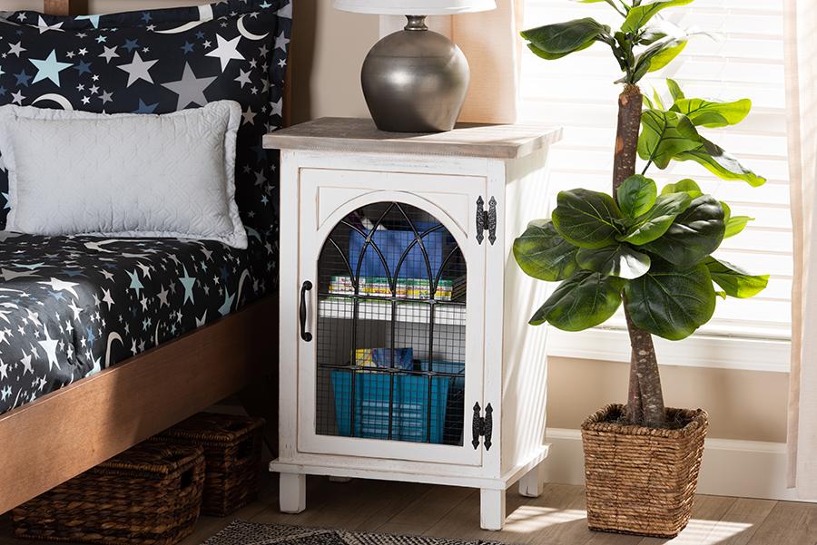 Faron White Oak Brown Wood 1 Door Nightstand | Baxton Studio