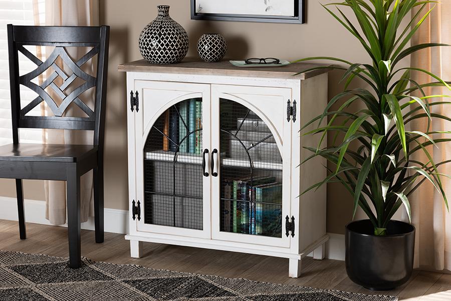 Faron White Oak Brown Wood 2 Door Storage Cabinet   Baxton Studio