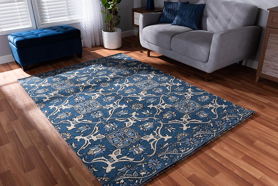 Panacea Blue Hand Tufted Wool Area Rug | Baxton Studio